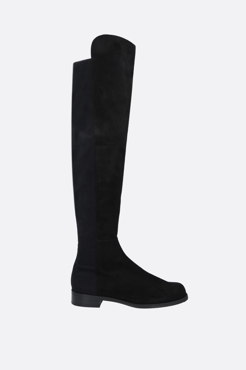 STUART WEITZMAN: 5050 suede and stretch fabric over-the-knee boots Color Black_1