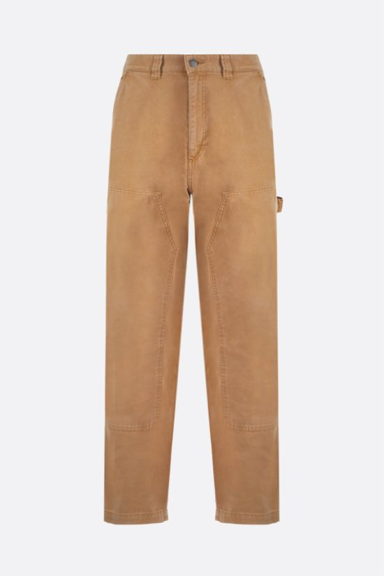 STUSSY: straight-fit cotton pants Color Brown_1