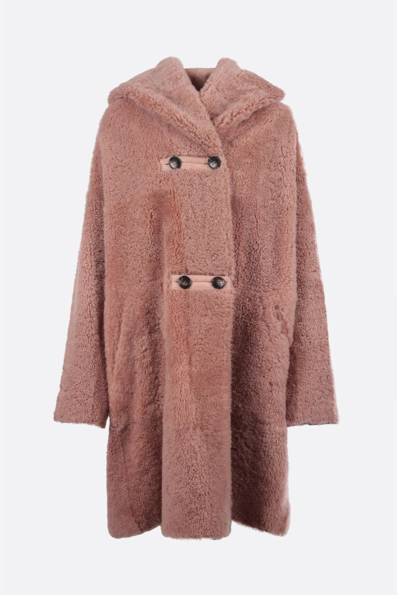 SYLVIE SCHIMMEL: Allure shealing reversible hooded coat Color Pink_1