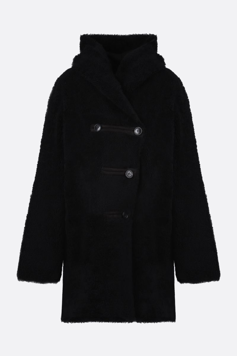 SYLVIE SCHIMMEL: Arcade shearling reversible hooded coat Color Black_1
