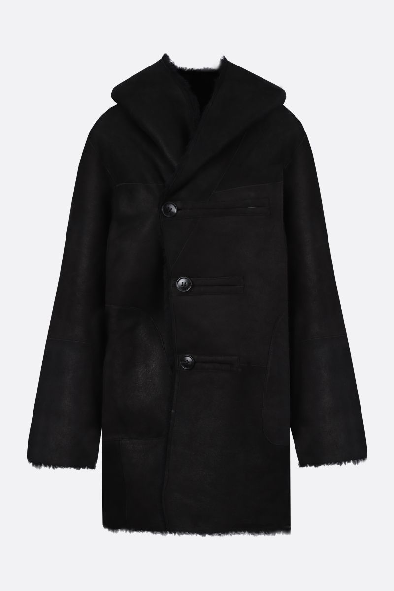 SYLVIE SCHIMMEL: Arcade shearling reversible hooded coat Color Black_2