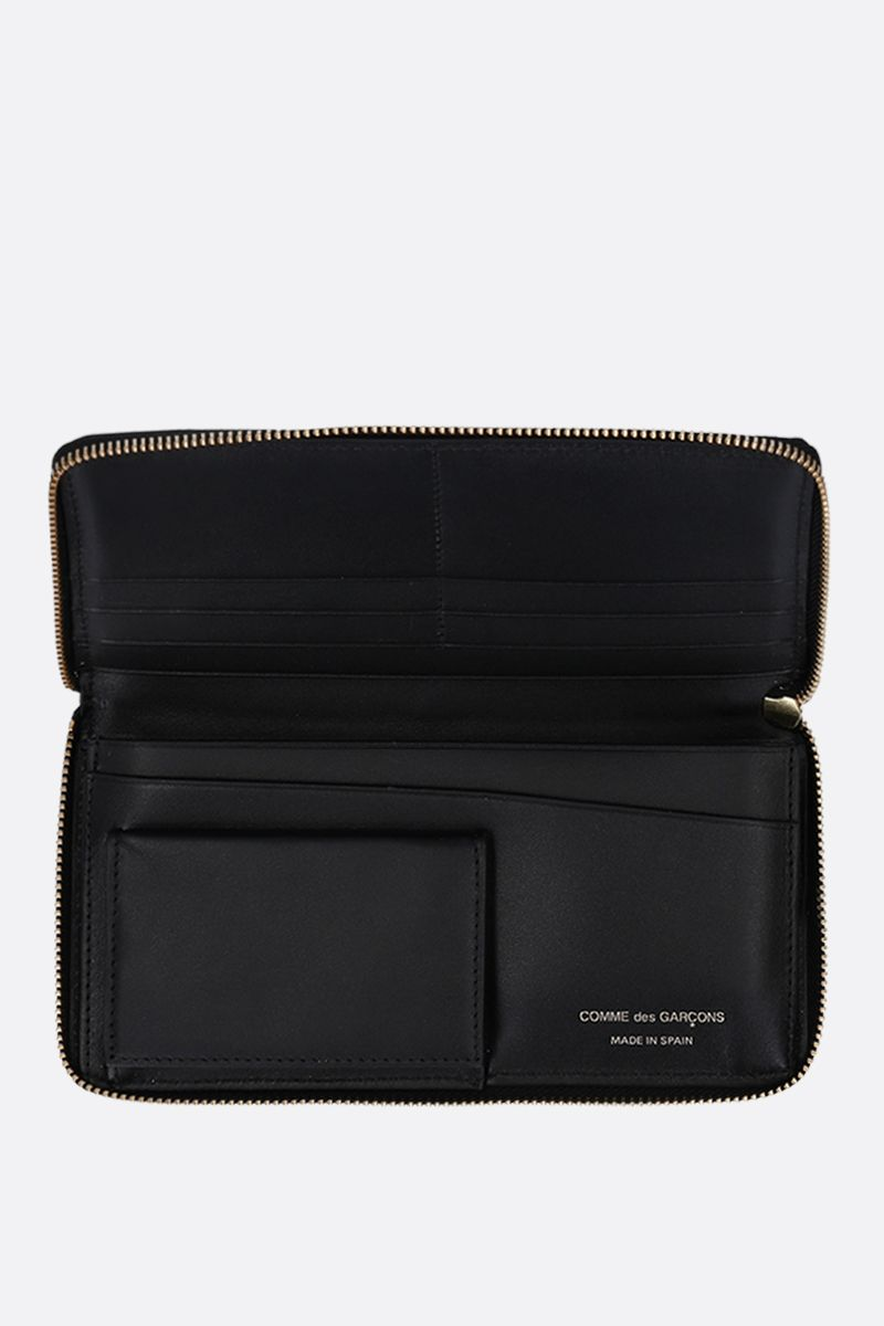 COMME des GARCONS WALLET: logo print smooth leather zip-around wallet Color Black_2