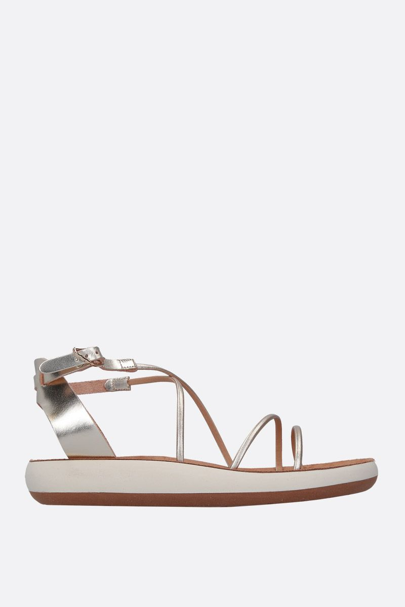 ANCIENT GREEK SANDALS: Anastasia flat sandals in laminated leather Color Silver_1