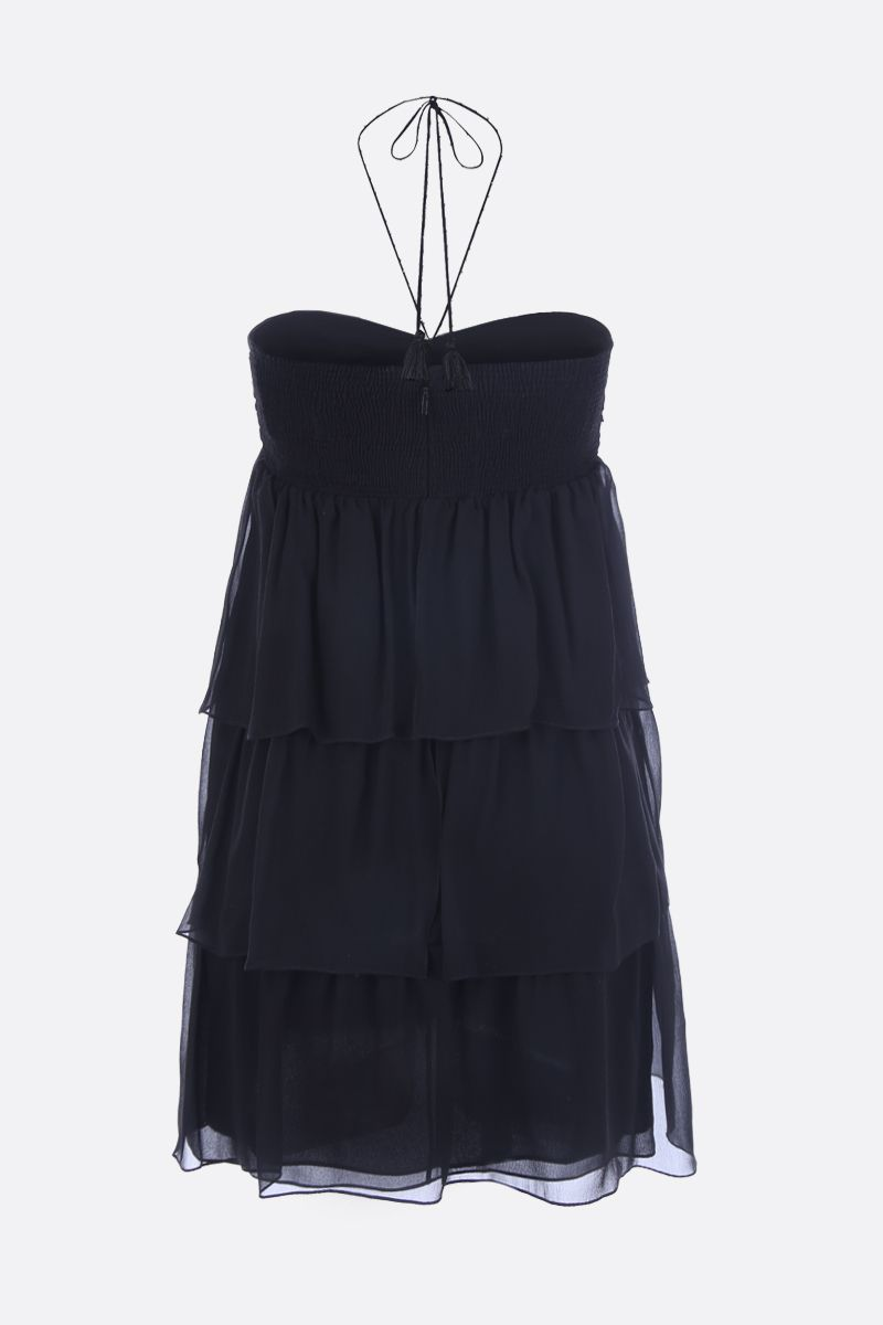 SAINT LAURENT: chiffon bustier minidress with flounced structure Color Black_2