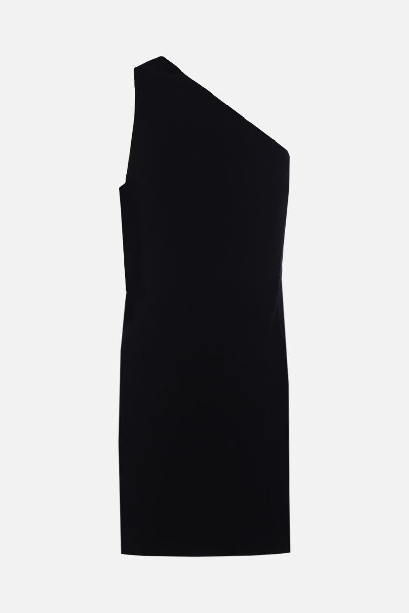 SAINT LAURENT: asymmetric one-shoulder minidress in velvet Color Black_2