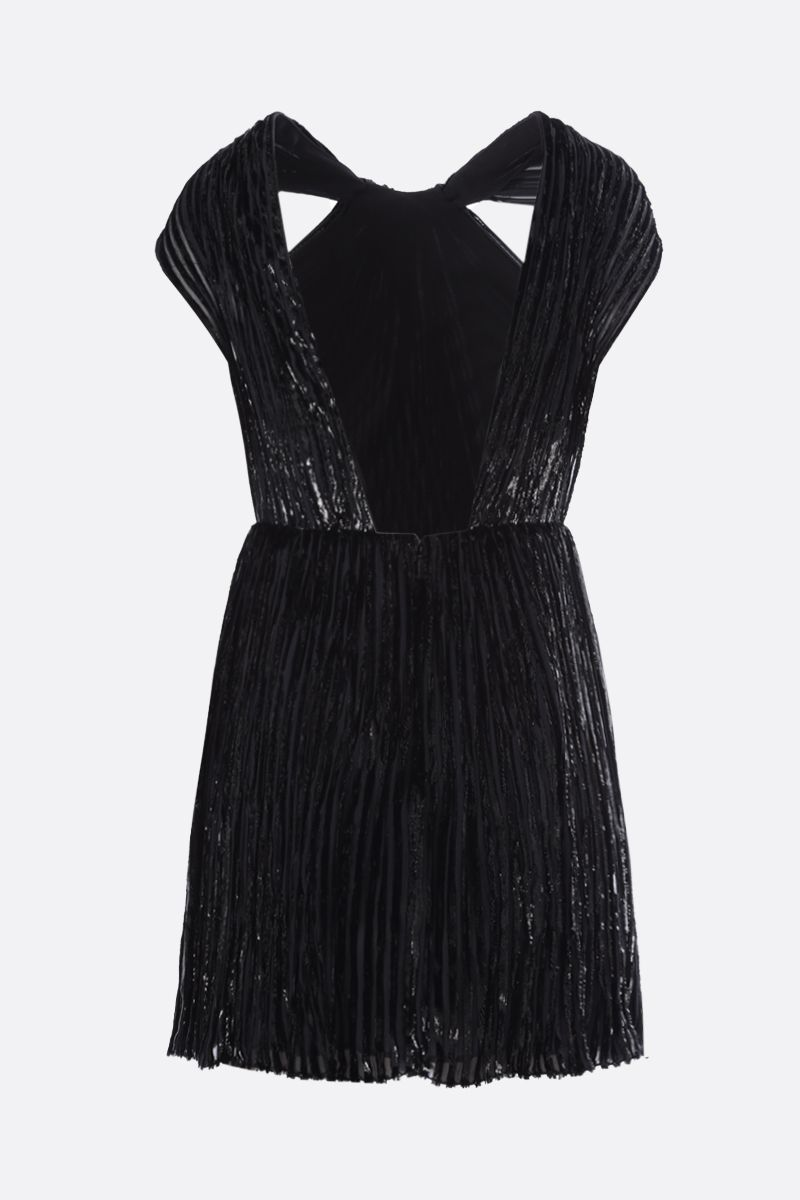 SAINT LAURENT: striped velvet and lurex minidress Color Black_2