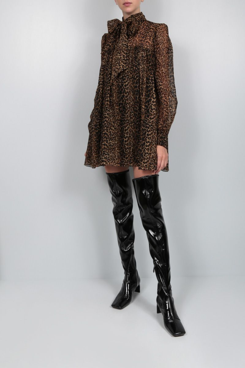 SAINT LAURENT: abito corto in lana stampa leopardo Colore Animalier_2