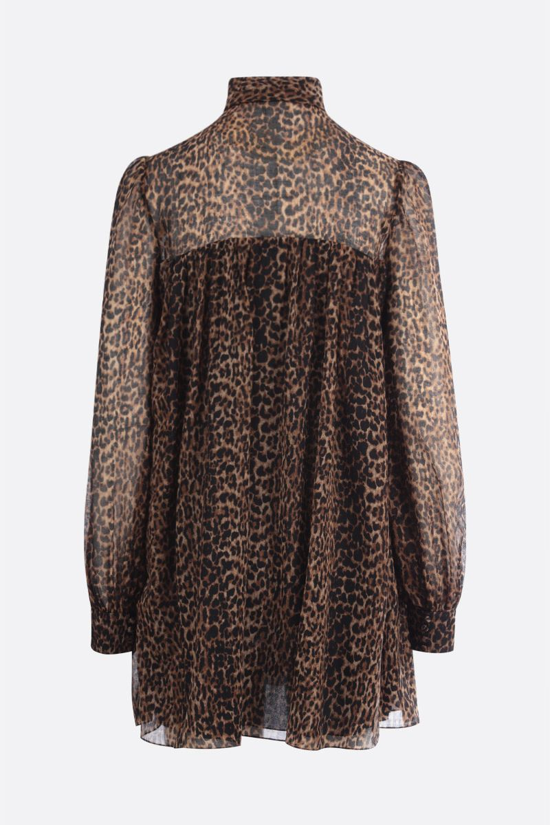 SAINT LAURENT: leopard print wool short dress Color Animalier_3