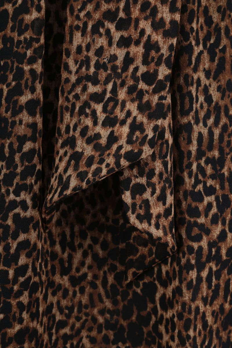 SAINT LAURENT: leopard print wool short dress Color Animalier_4