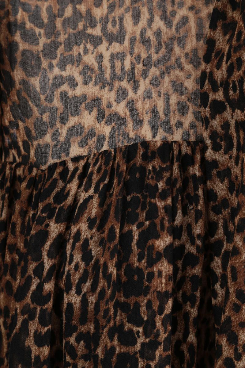 SAINT LAURENT: leopard print wool short dress Color Animalier_5