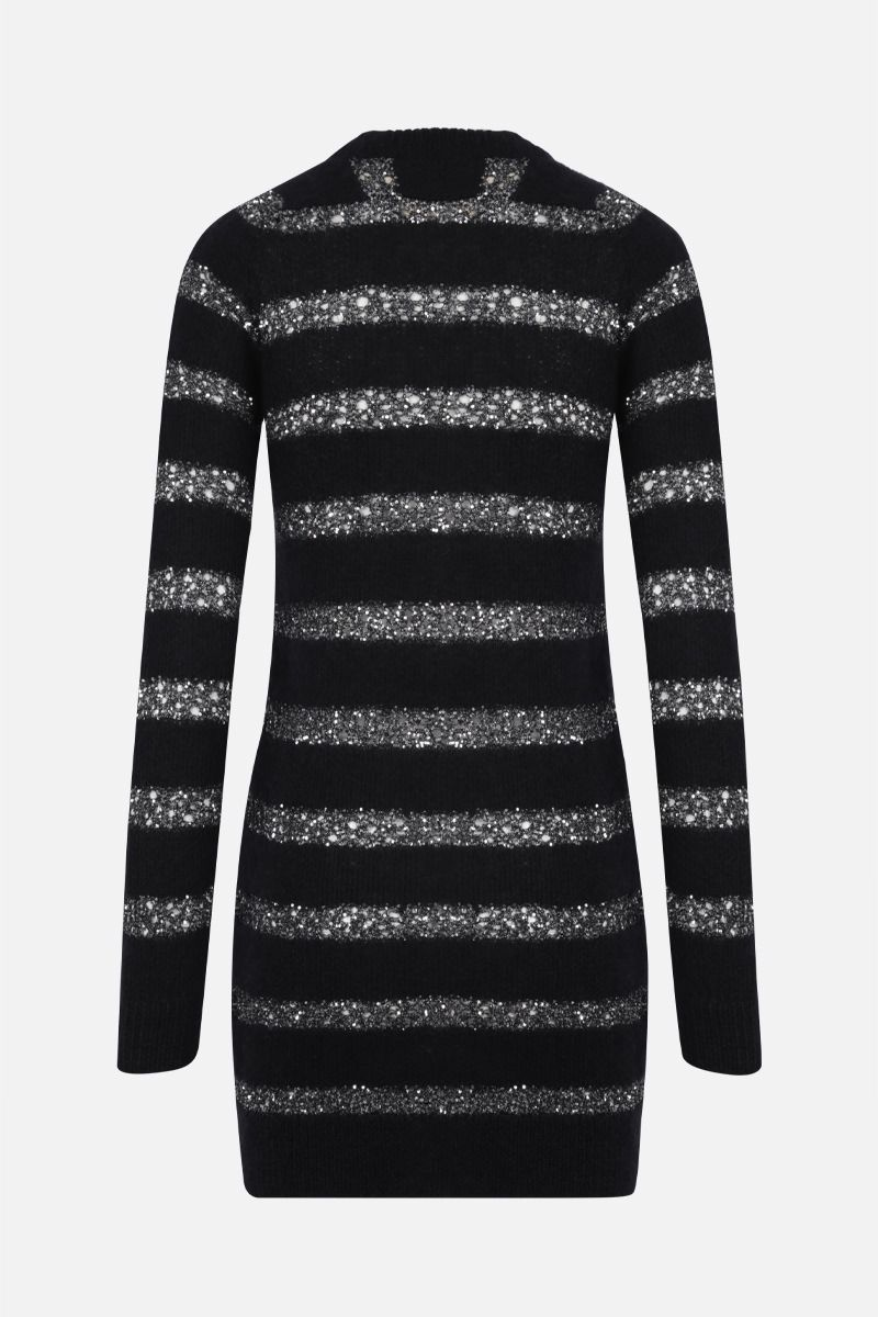 SAINT LAURENT: striped mohair blend pullover dress Color Black_2