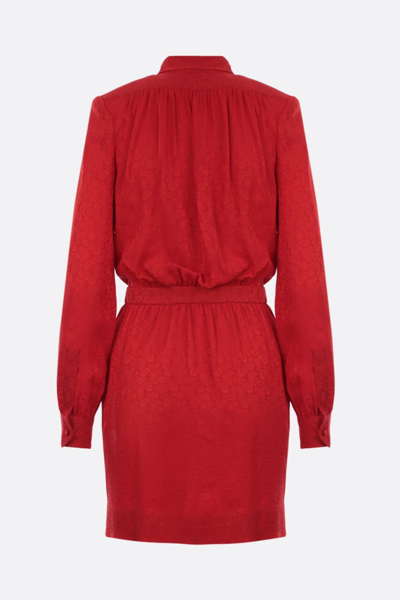 SAINT LAURENT: silk jacquard wrap minidress Color Red_2
