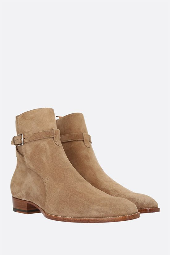 SAINT LAURENT: Wyatt suede ankle boots Color Brown_2