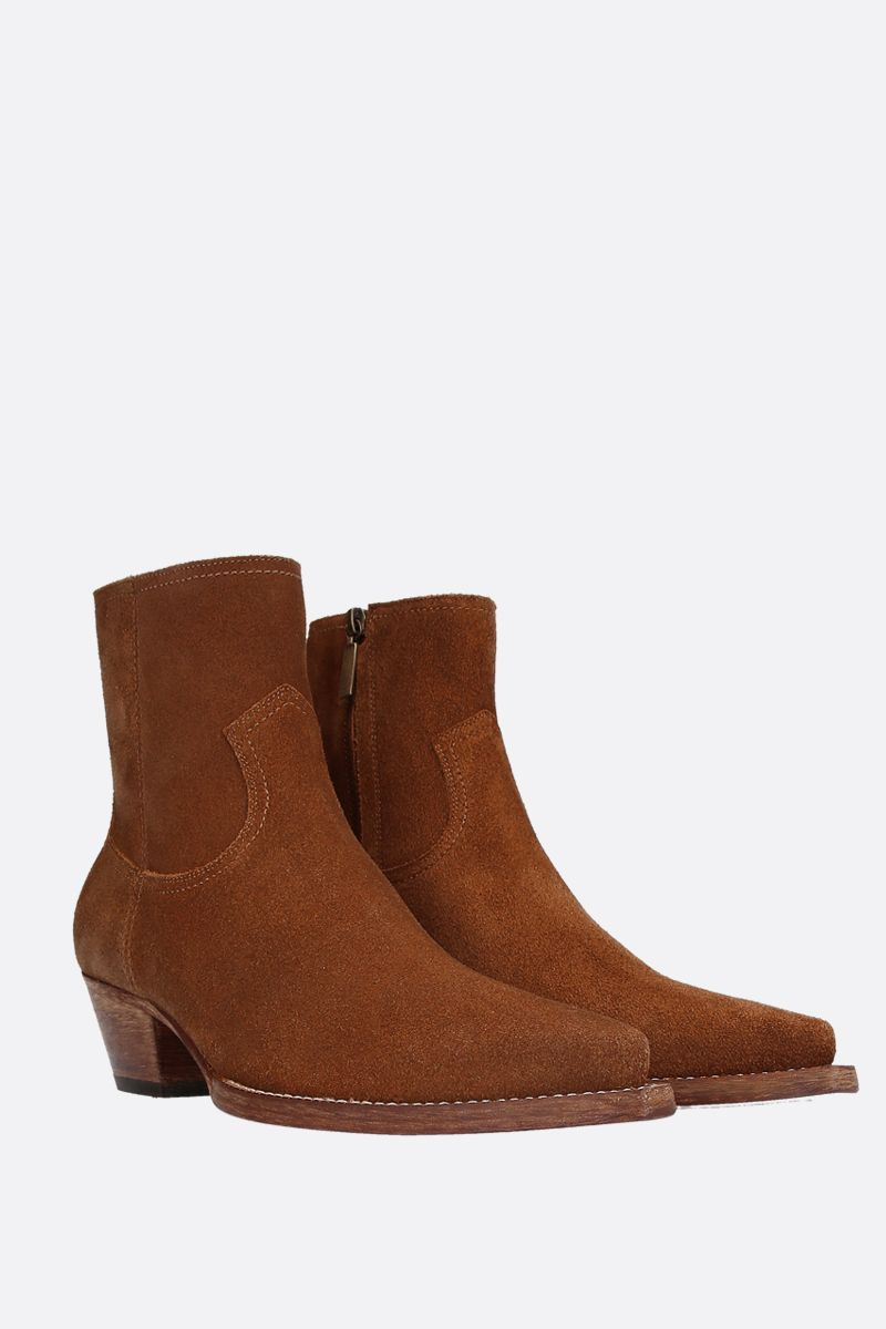 SAINT LAURENT: stivaletto texano Lukas in suede Colore Marrone_2