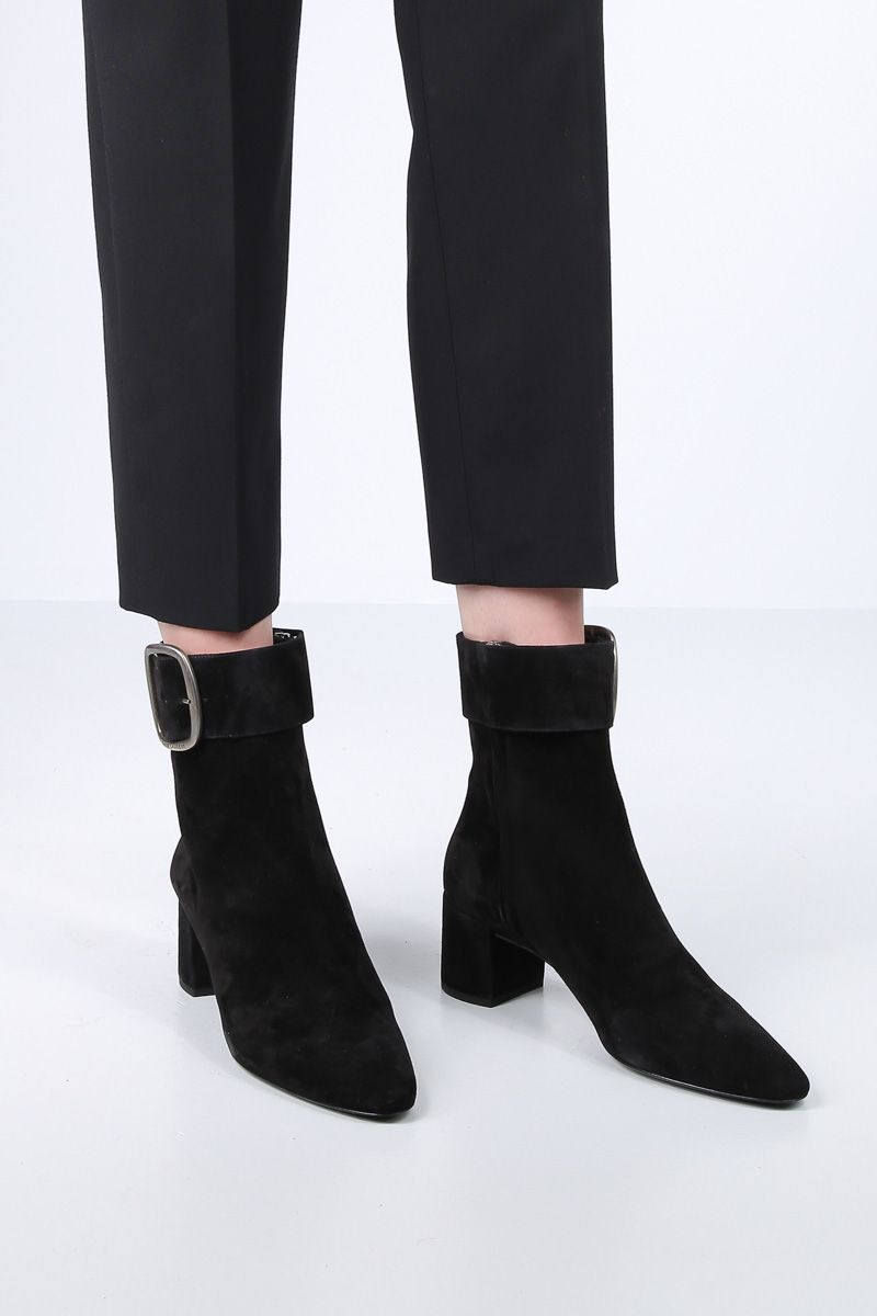 SAINT LAURENT: Joplin ankle boots in suede Color Black_2