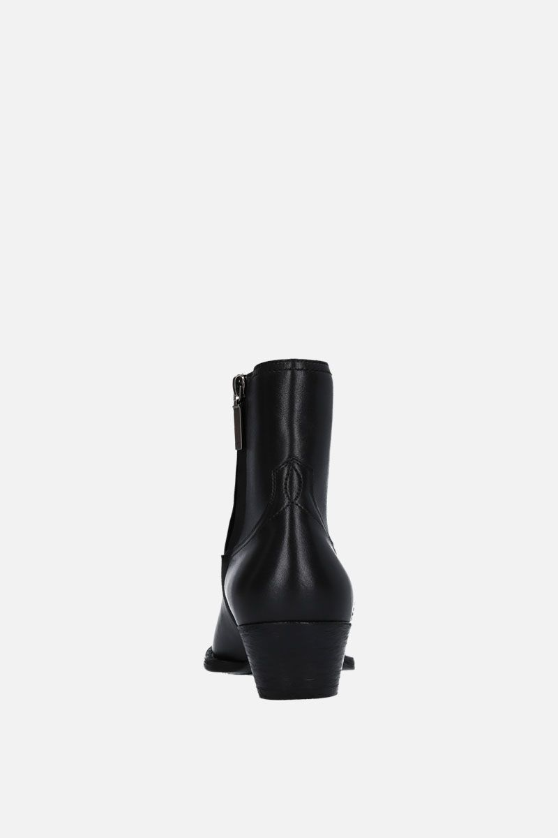 SAINT LAURENT: Lukas western boots in smooth leather Color Black_3