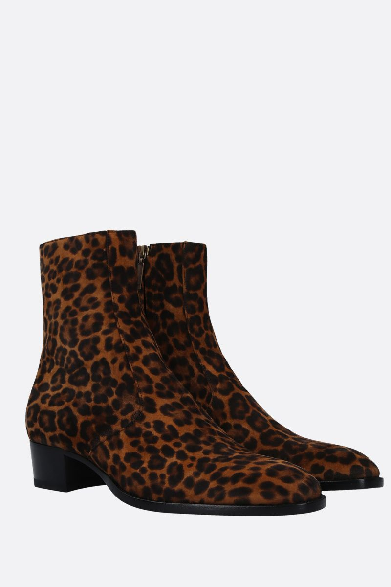 SAINT LAURENT: Wyatt ankle boots in leopard print suede Color Brown_2