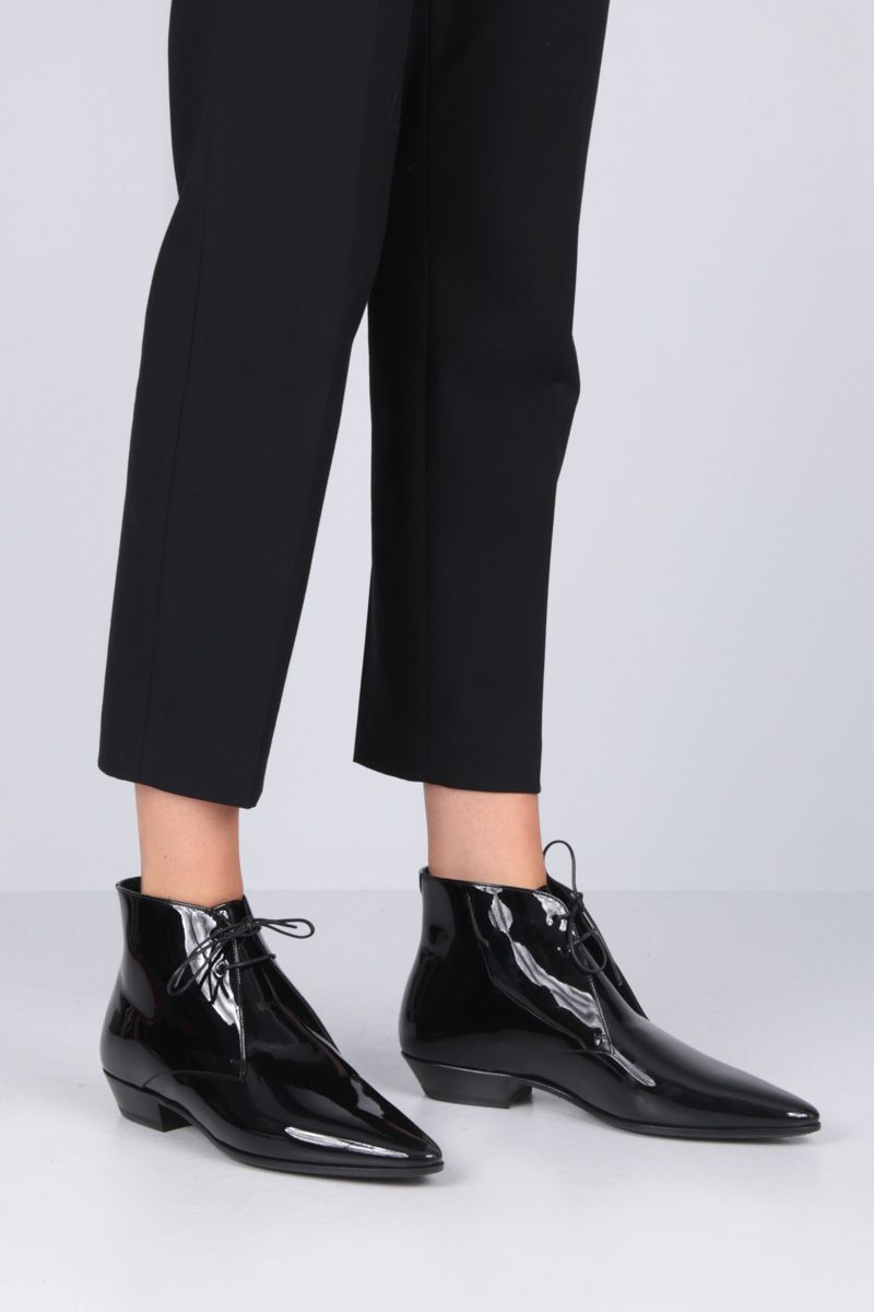 SAINT LAURENT: Jonas lace-up boots in patent leather Color Black_2