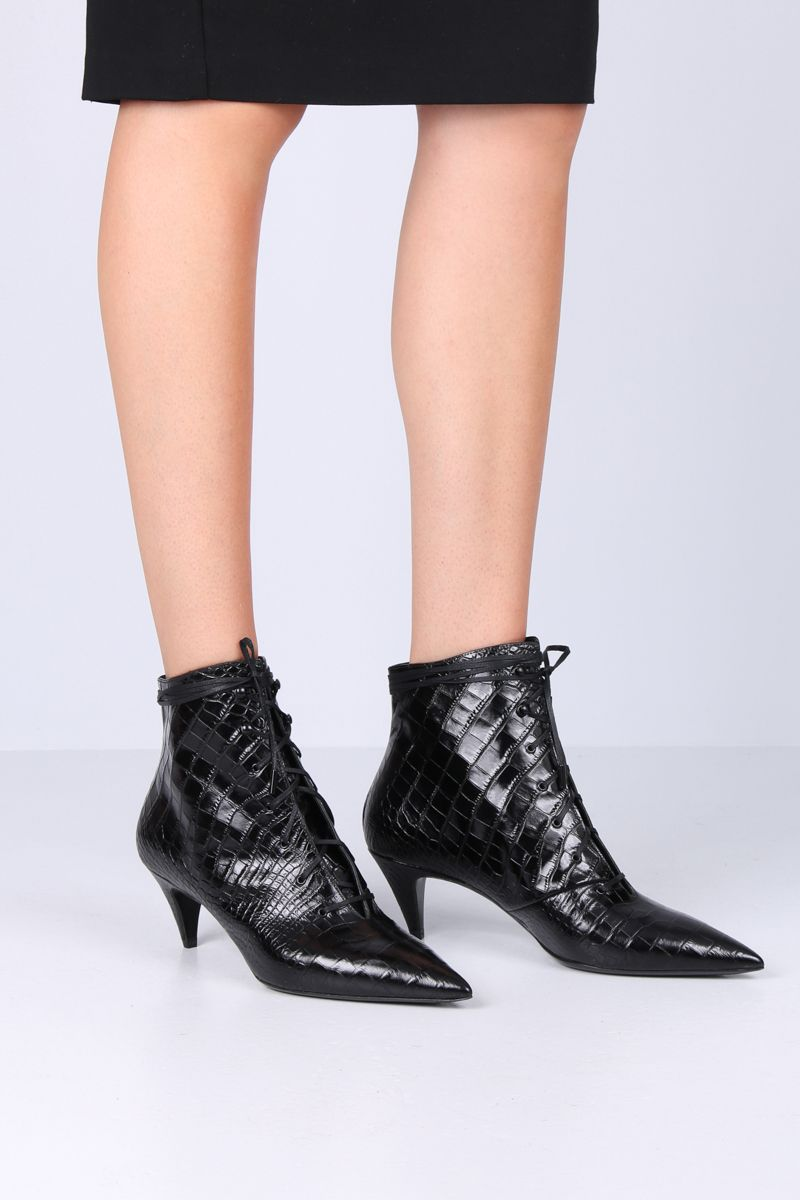 SAINT LAURENT: Kiki lace-up booties in crocodile embossed leather Color Black_2