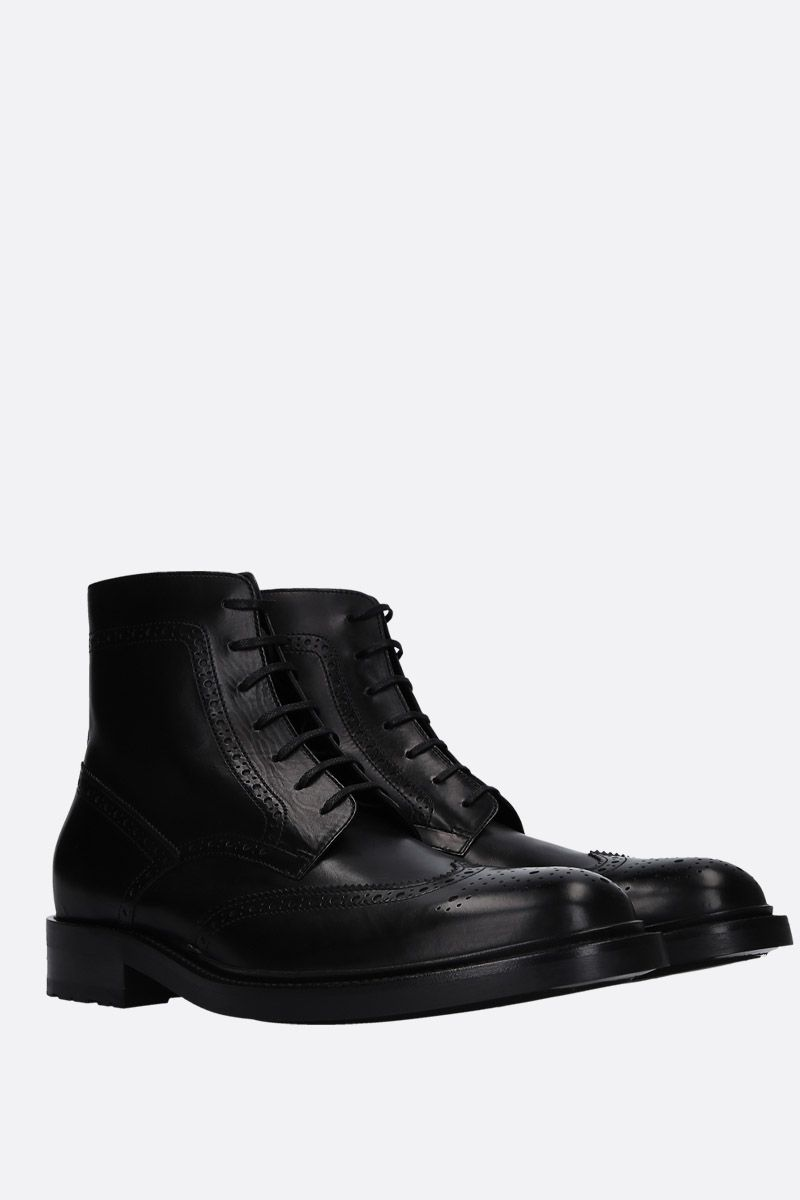 SAINT LAURENT: Army lace-up boots in smooth leather Color Black_2