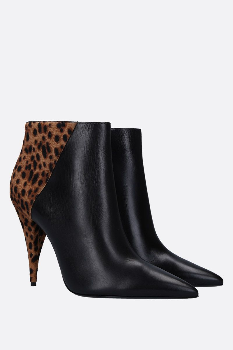 SAINT LAURENT: Kiki ankle boots in smooth leather and pony Color Animalier_2