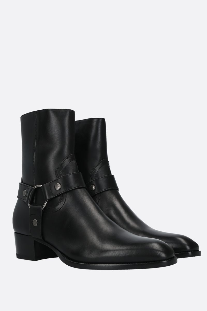 SAINT LAURENT: Wyatt smooth leather western boots Color Black_2