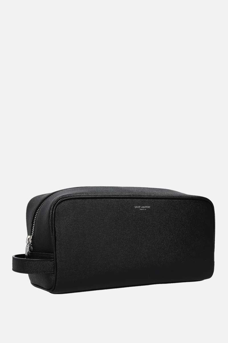 SAINT LAURENT: beauty case in pelle Grain de Poudre Colore Nero_2