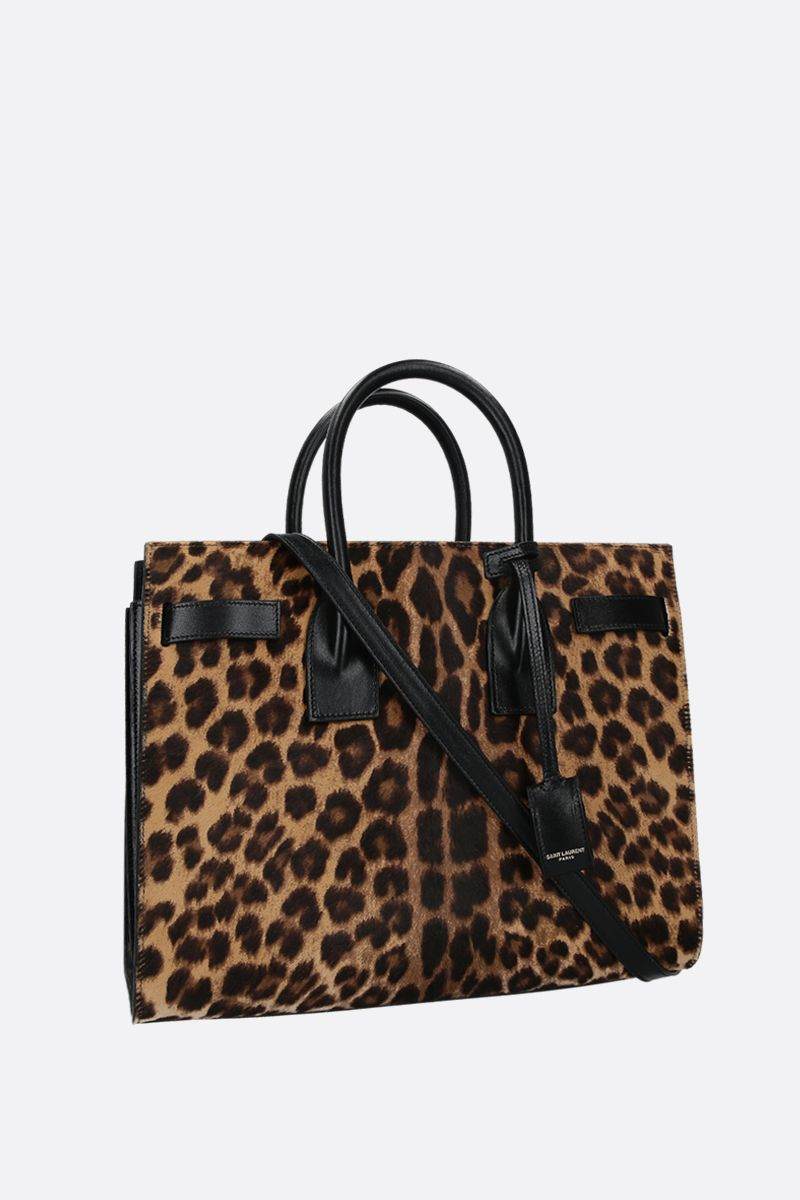 SAINT LAURENT: borsa a mano Sac de Jour small in cavallino leopardato Colore Nero_2