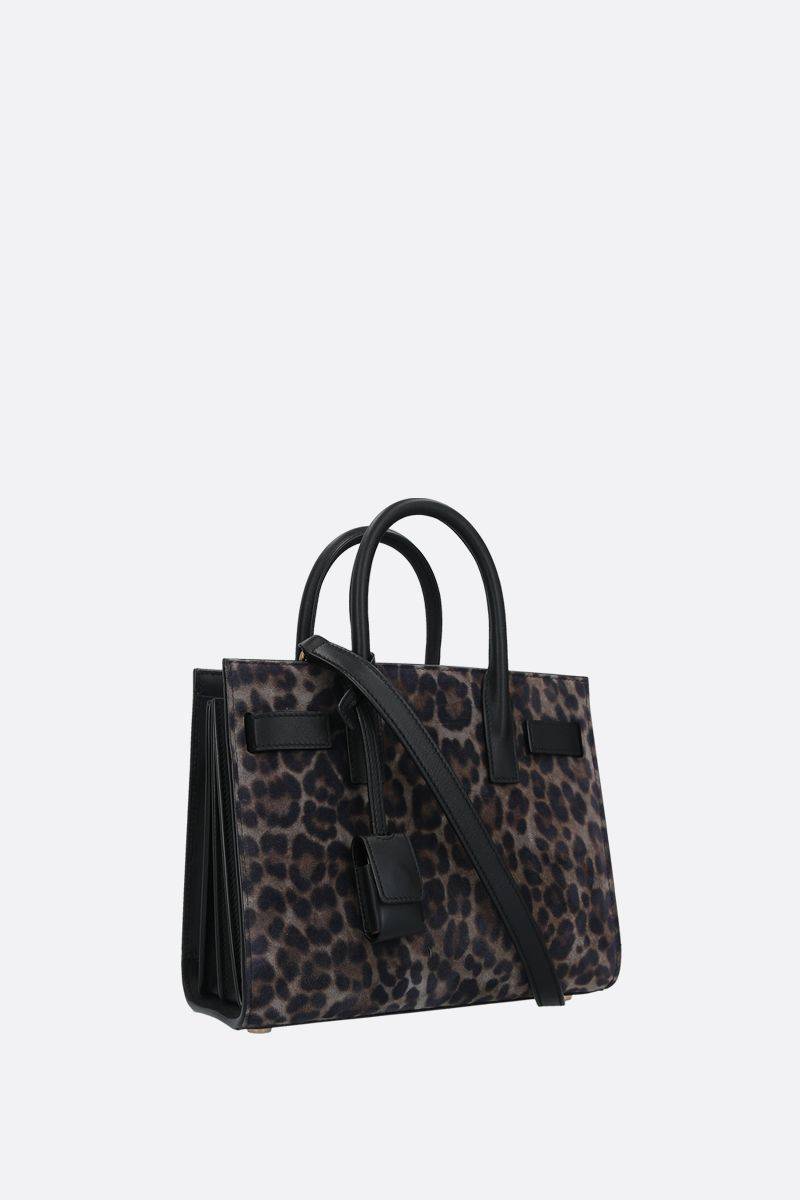SAINT LAURENT: Sac de Jour nano leopard suede handbag Color Grey_2
