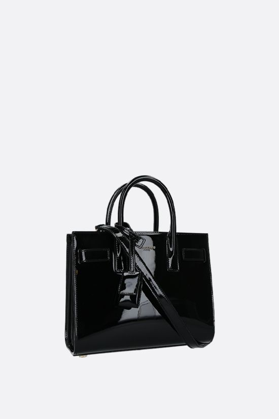 SAINT LAURENT: Sac de Jour nano patent leather handbag Color Black_2
