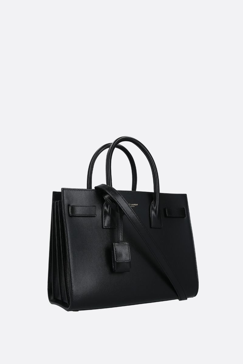 SAINT LAURENT: borsa a mano Sac de Jour baby in pelle lucida Colore Nero_2