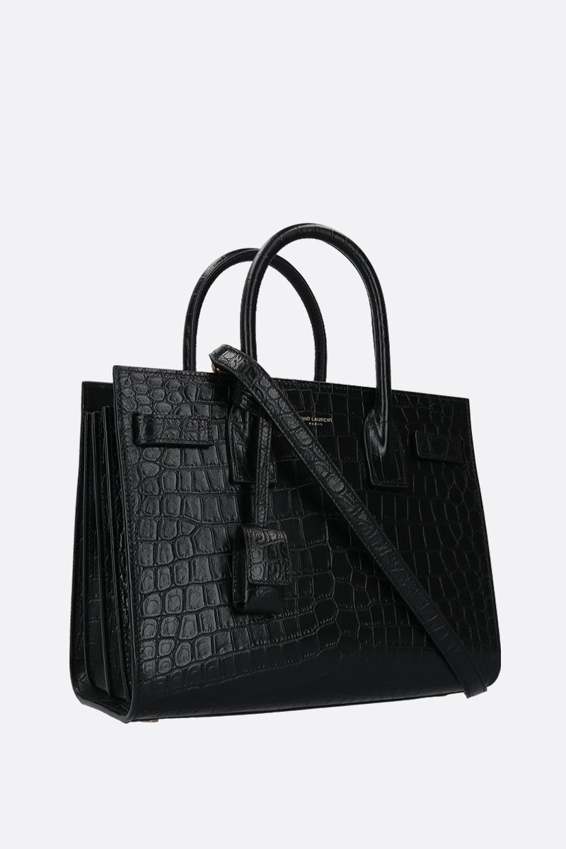 SAINT LAURENT: Sac de Jour baby crocodile embossed leather handbag Color Black_2