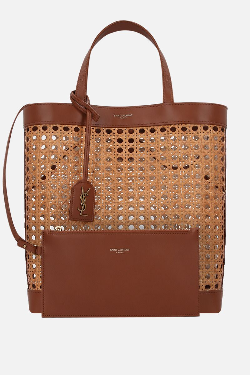 SAINT LAURENT: Toy shopping bag in woven cane and leather Color Brown_2