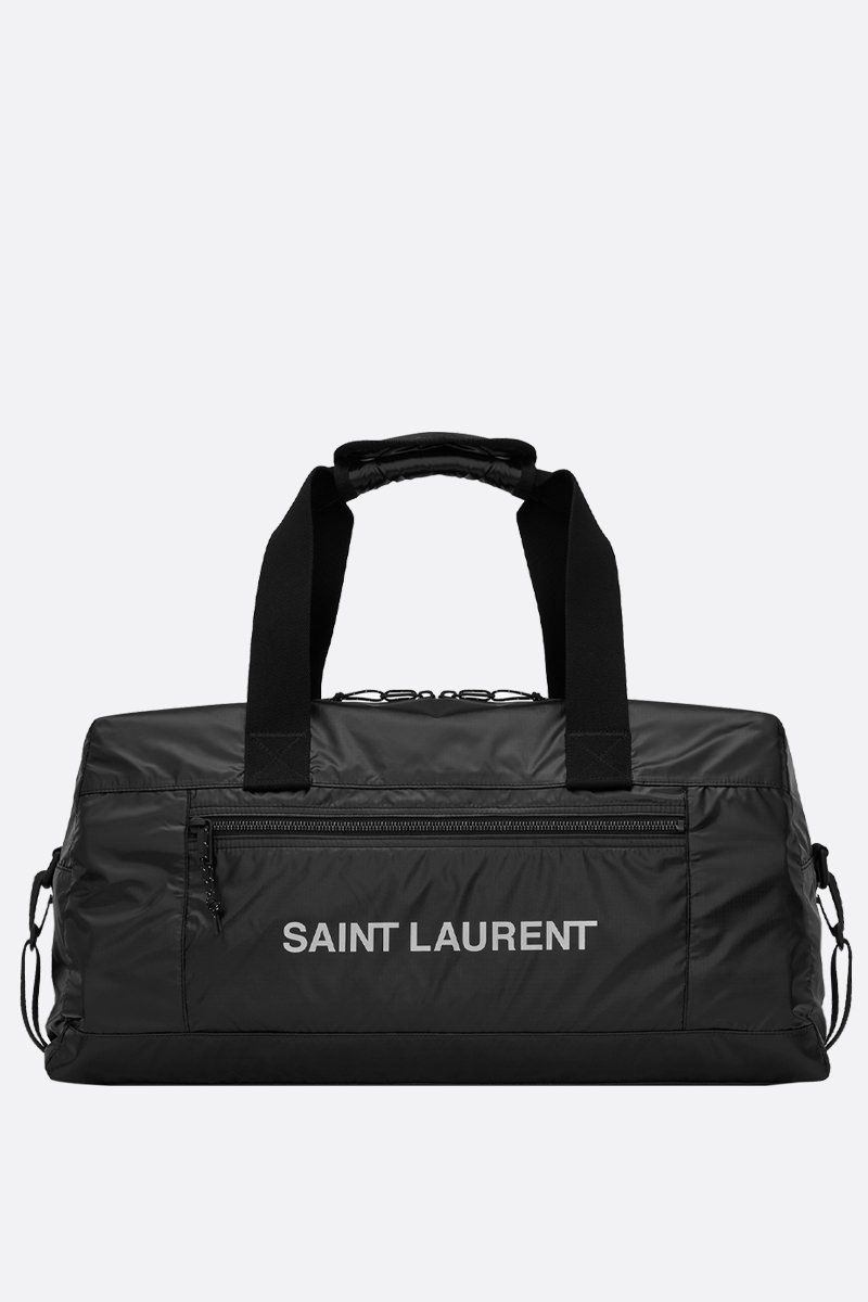 SAINT LAURENT: borsa weekend Nuxx in nylon stampa logo Colore Nero_1
