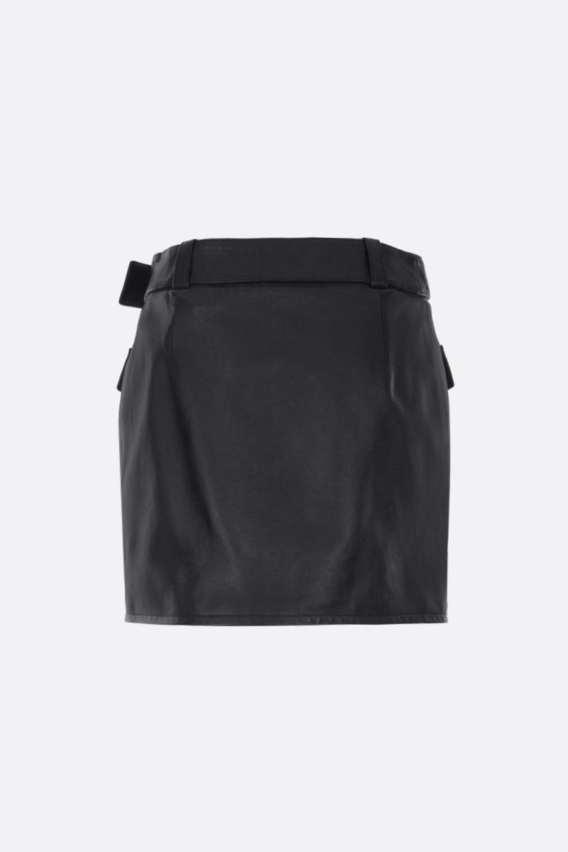 SAINT LAURENT: nappa leather miniskirt with buttons Color Black_2