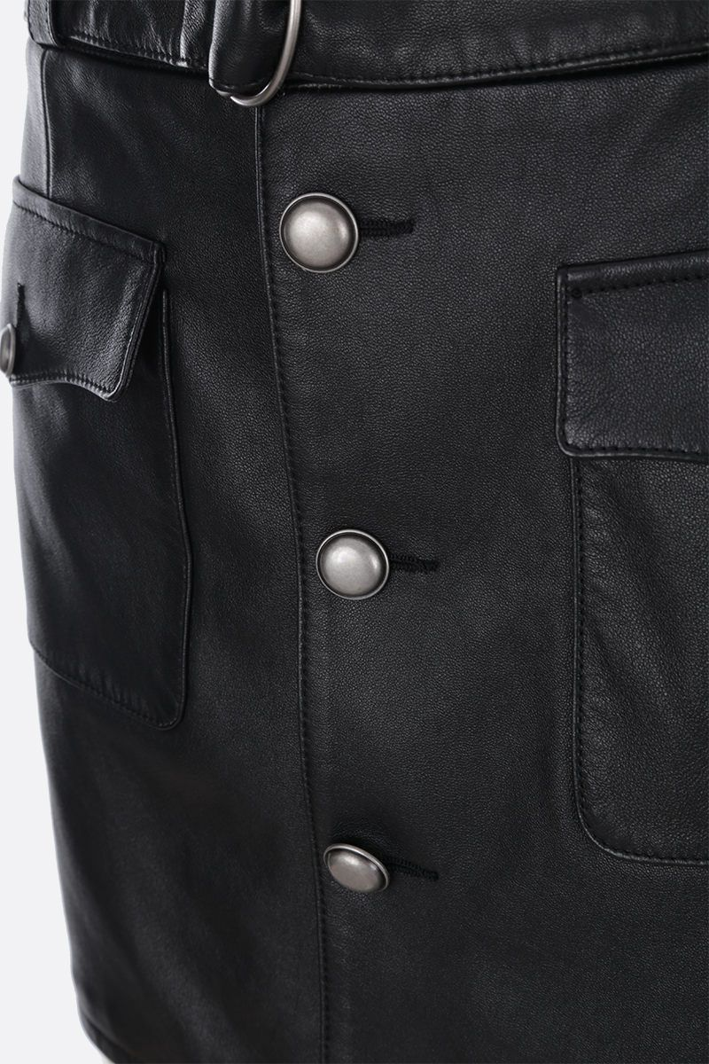 SAINT LAURENT: nappa leather miniskirt with buttons Color Black_3