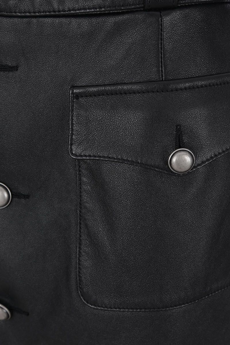 SAINT LAURENT: nappa leather miniskirt with buttons Color Black_4