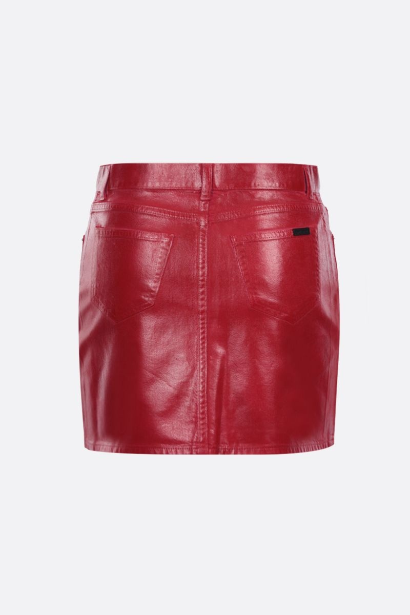 SAINT LAURENT: coated denim miniskirt Color Red_2