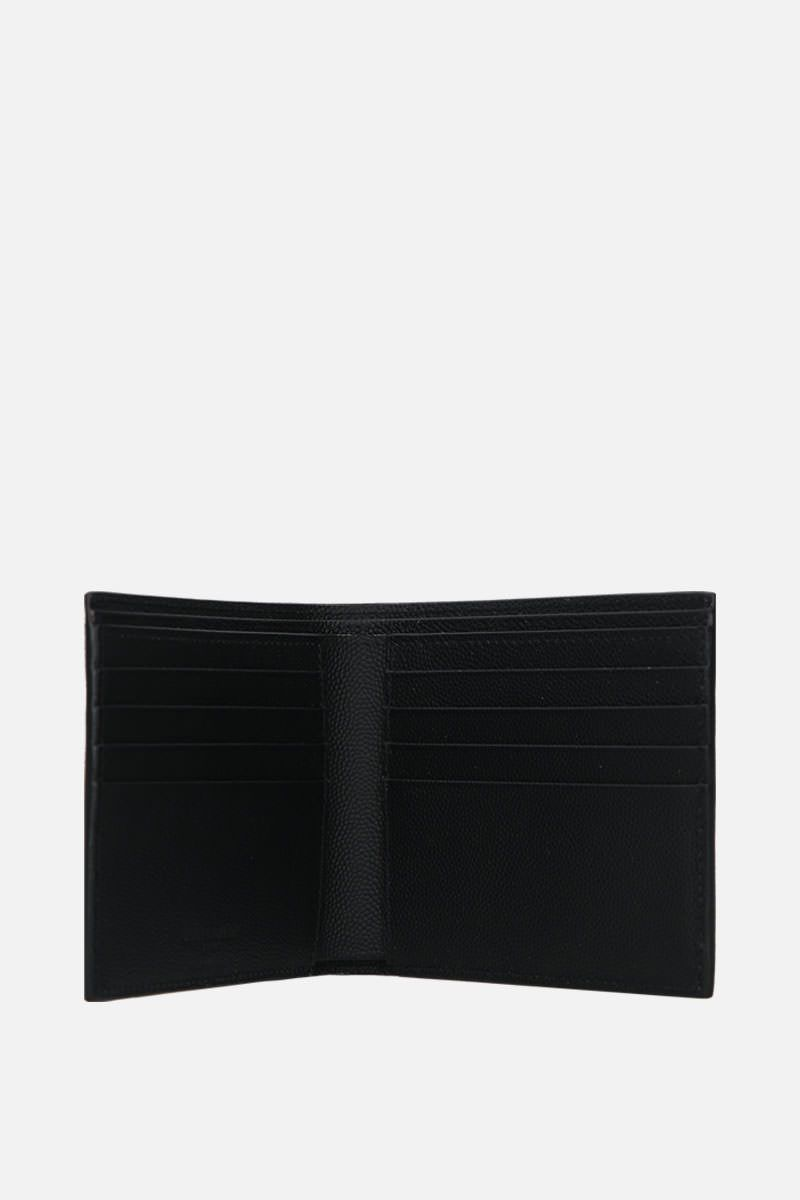 SAINT LAURENT: East/West billfold wallet in Grain de Poudre printed leather Color Black_2