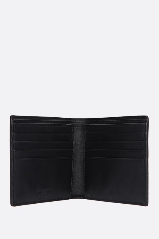 SAINT LAURENT: East/West crocodile embossed leather billfold wallet Color Black_2