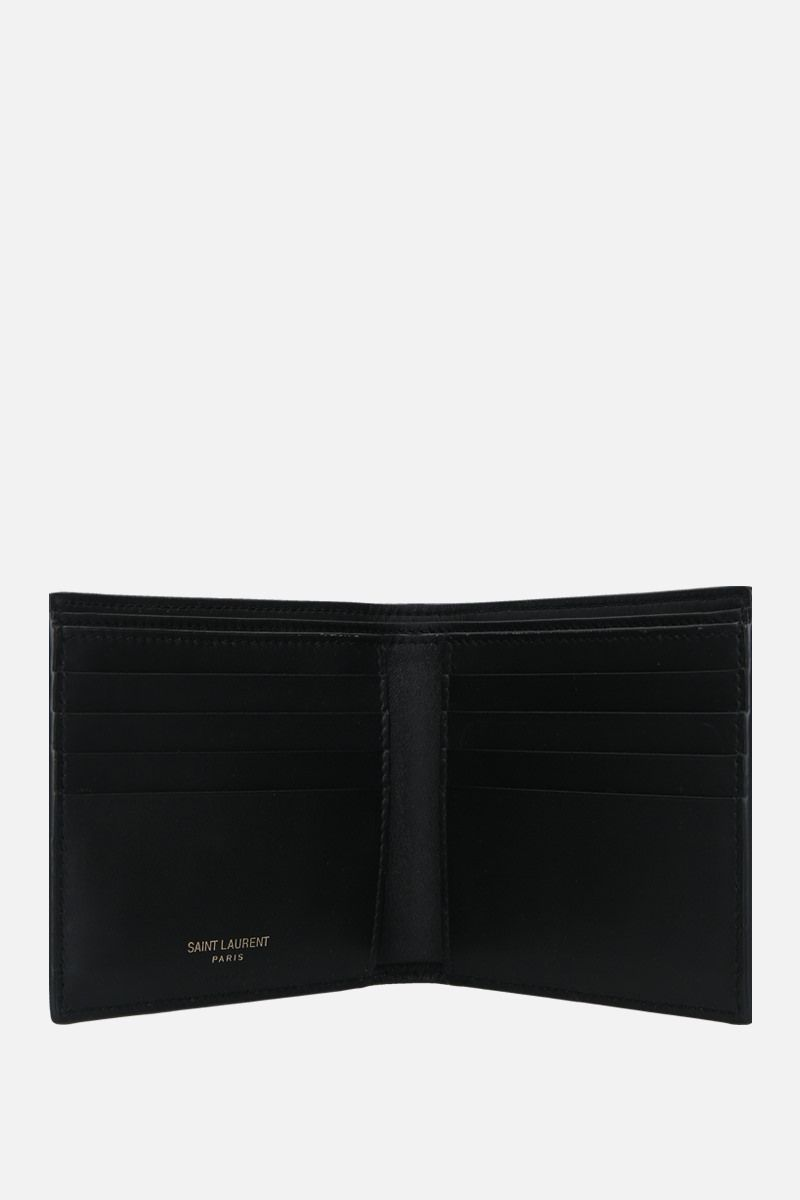 SAINT LAURENT: Monogram E/W crocodile-embossed leather billfold wallet Color Black_2