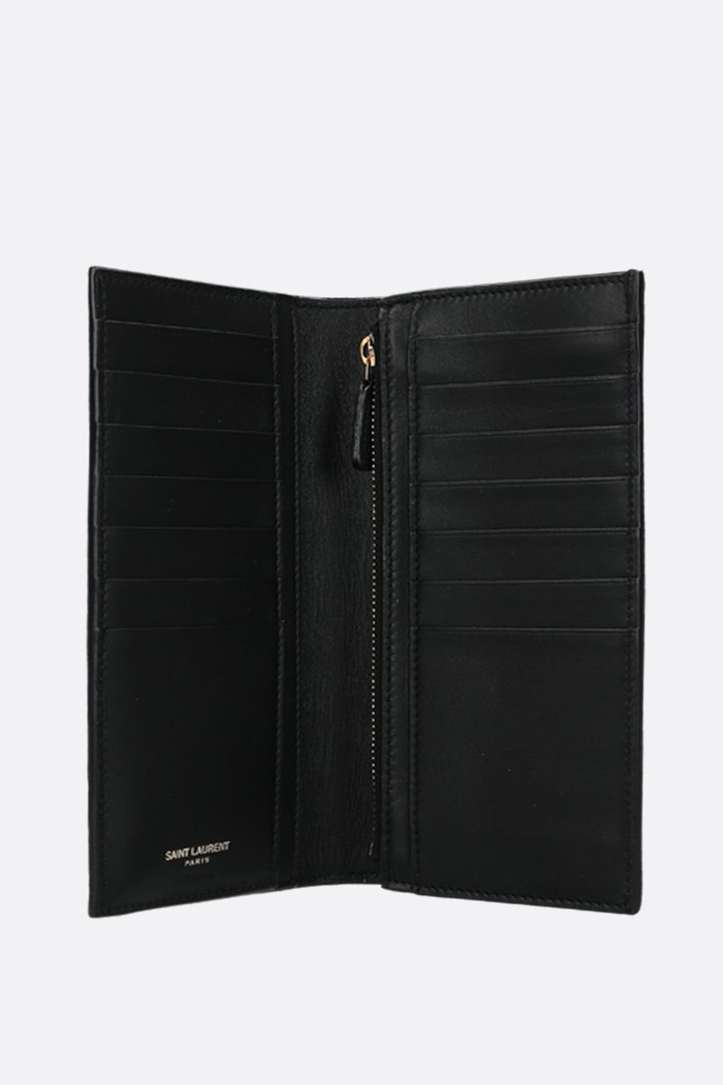 SAINT LAURENT: Monogram crocodile embossed leather vertical wallet Color Black_2