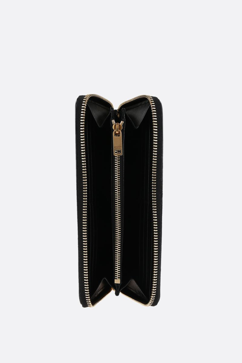 SAINT LAURENT: portafogli zip-around Monogram in pelle lucida Colore Nero_2