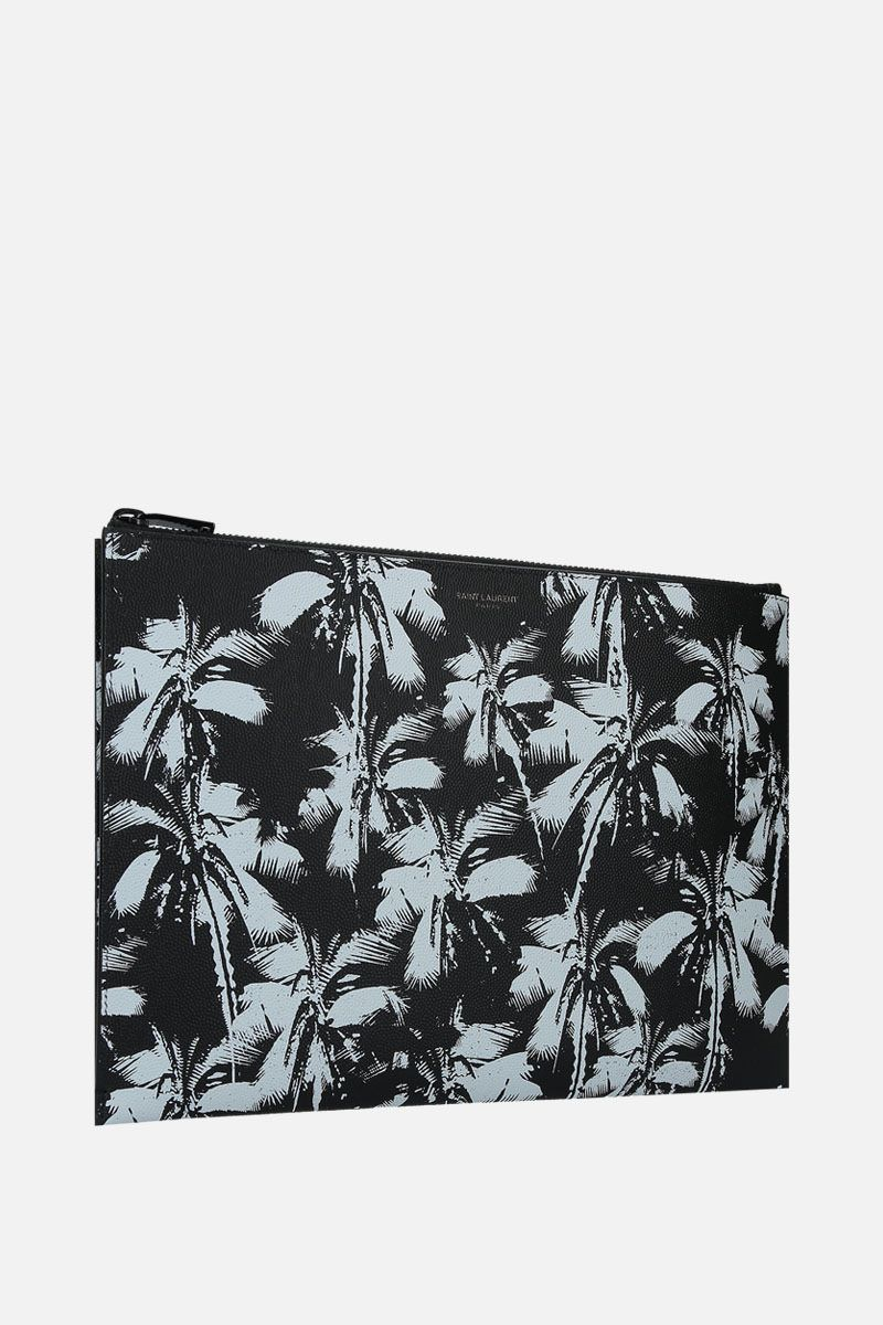 SAINT LAURENT: Palm print Grain de Poudre leather tablet holder Color Black_2