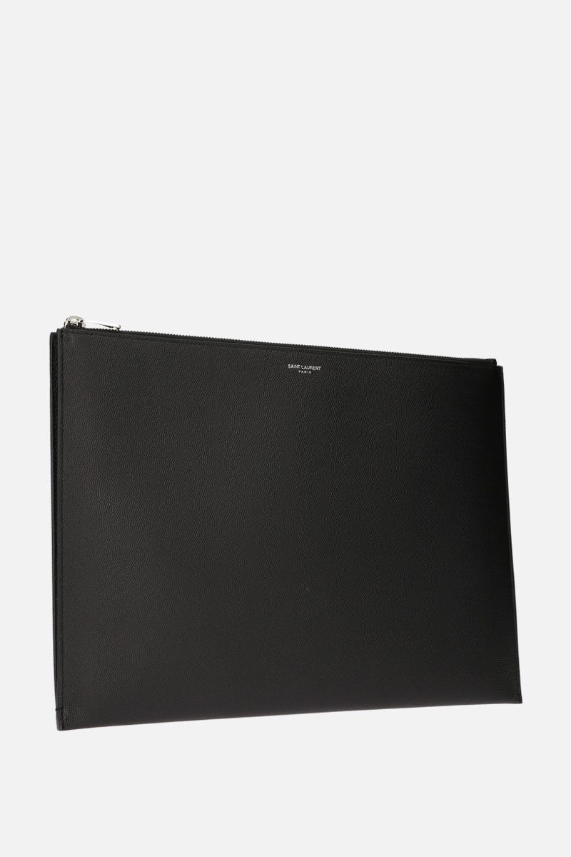 SAINT LAURENT: porta tablet in pelle Grain de Poudre Colore Nero_2