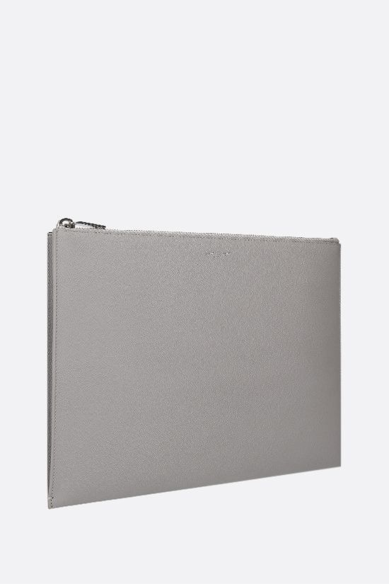 SAINT LAURENT: porta tablet in pelle Grain de Poudre Colore Grigio_2