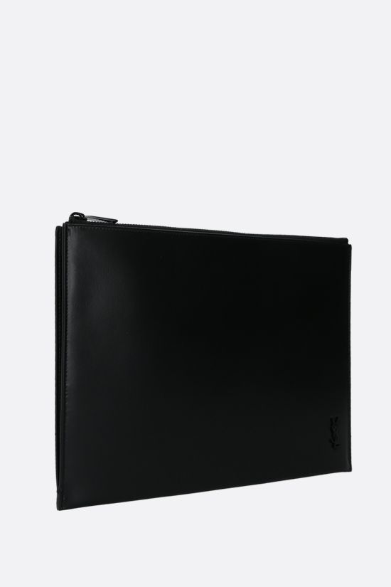 SAINT LAURENT: Monogram shiny leather tablet holder Color Black_2