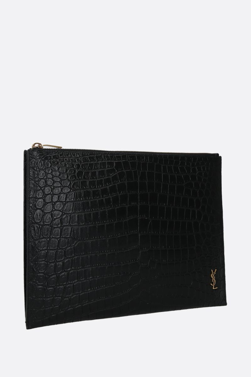 SAINT LAURENT: Monogram crocodile-embossed leather tablet holder Color Black_2