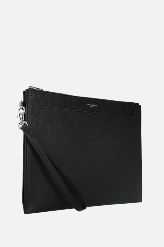 SAINT LAURENT: porta tablet Cathrine in pelle Grain de Poudre Colore Nero_2