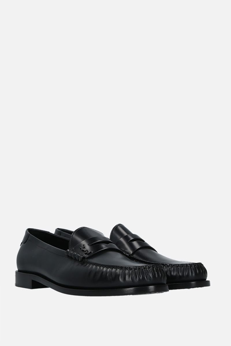 SAINT LAURENT: Monogram smooth leather loafers Color Black_2